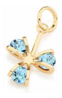 Pingente Rommanel Flor Com Cristais Azul