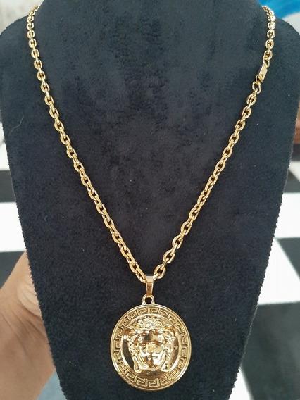 Corrente Cartier + Pingente Medusa Banhado A Ouro 18k Novo