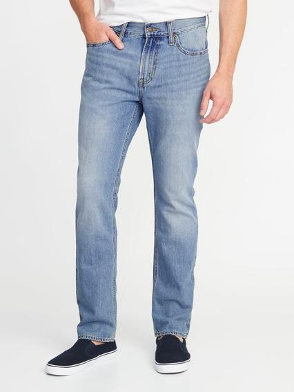 Jeans Hombre Pantalón Mezclilla Rígidos Corte Recto Old Navy
