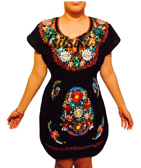 Elegante Vestido De Manta Bordado Artesanal Mexicano Kimono