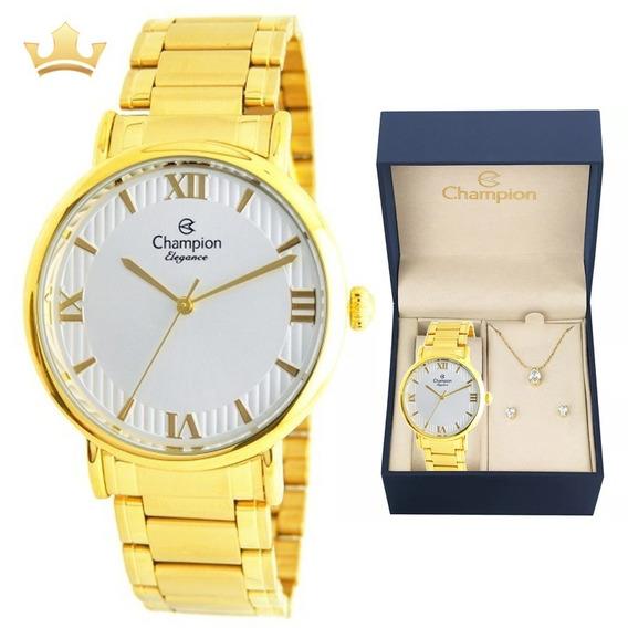 Relógio Champion Feminino Kit Cn25618w Com Nf