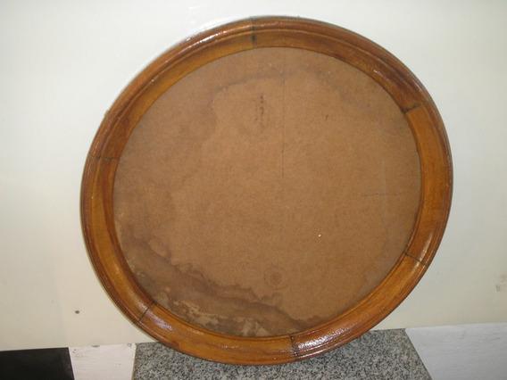 Antiga Grande Moldura Espelho Redondo 58 Cm Cerejeira Verniz