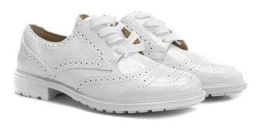 Sapato Feminino Oxford Facinelli Verniz Branco Tratorado