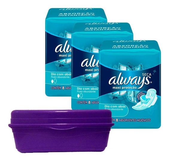 Kit 3 Absorventes Always Proteção Total Seca Abas+frasqueira