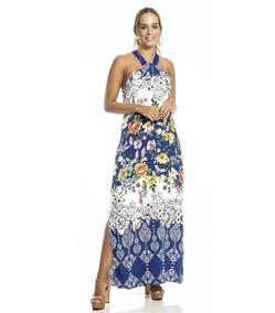 Vestido Feminino Longo Evangélico Verão Festa Azul Estampado