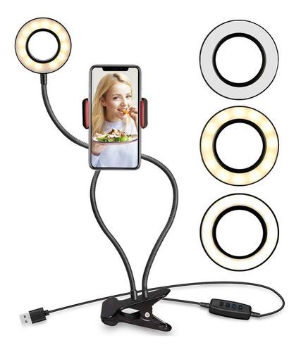 Aro De Luz Led Fotos Vídeos Con Soporte Para Celular 3 Tonos