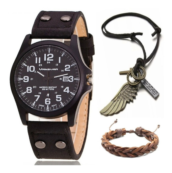 Relógio Masculino Vintage Moda + Colar Asa + Pulseira Couro
