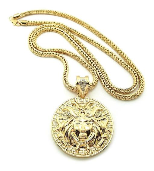 Medalla Versace Medusa En Oro Laminado De 18k Cadena De 75cm