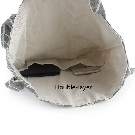 Bolsa De Tela Tote Bag Blanca De Cuadros