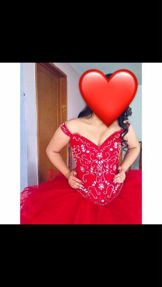 Vestido De Xv Años Color Rojo Con Tres Piezas