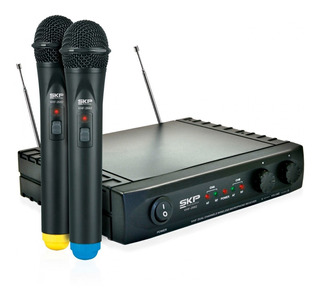 Microfono Inalambrico Skp Vhf-2682 Potecia 8.5mw 2 Canales V