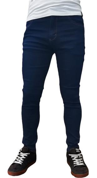 Jean Chupin Azul Parches Hombre Elastizado Maxima Calidad