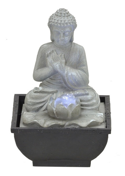 Fonte De Água Buda Meditando Com Flor De Lótus E Iluminação 110v