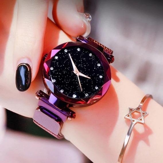 Relógio Céu Estrelado Roxo Com Pulseira Em Malha