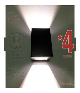 Aplique Exterior Bidireccional C/ Lampara Led 6w Pack X4unid