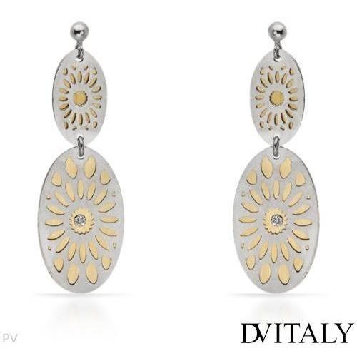 Aretes Dv Italy Plata Con Chapa De Oro Y Diamantes 02238265
