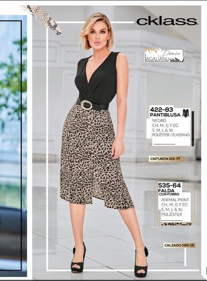 Falda Animal Print Con Forro Mod. 535-64 Oi 2019
