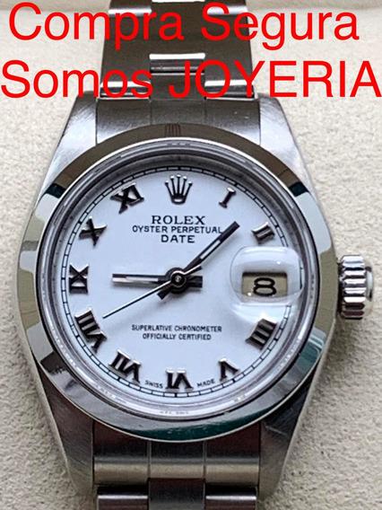 Rolex 59mil Datejust Dama Acero Oyster Impecable Con Estuche