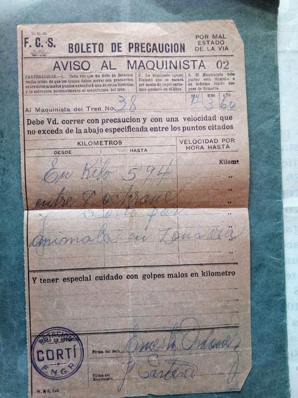 Ferrocarril Boleto Precaucion De Maquinista Fcs
