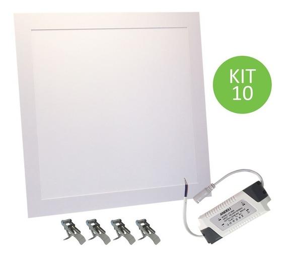 Plafon Led Embutir 36w 40x40 Branco Neutro Slim Kit 9