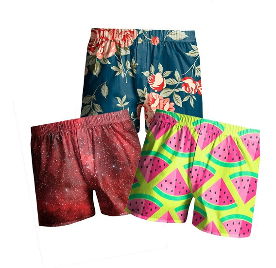 Kit C/3 Cueca Shorts Samba Canção Outlet Melancia Praia
