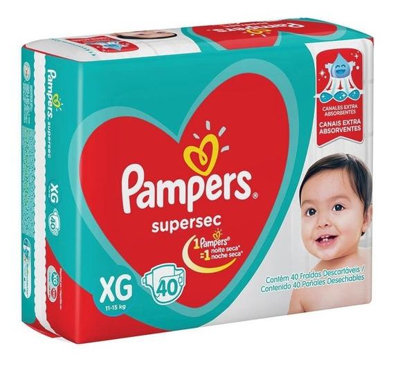 Fralda Pampers S. Sec Mega 3 Pct Tam. Xg + 1 Lenço Umd 96 F