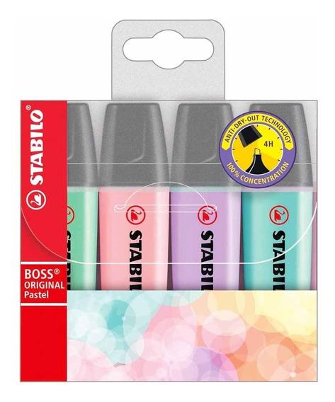 Caneta Marca Texto Stabilo Boss Original Pastel 4 Cores