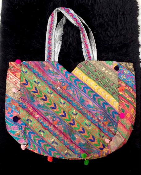 Bolsa Indiana De Mão, Em Patwork, Bordada, C/ Bolso, Color