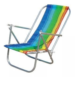 2 Cadeiras Praia Alumínio 2 Posição Botafogo [ Kit 2 C Frete