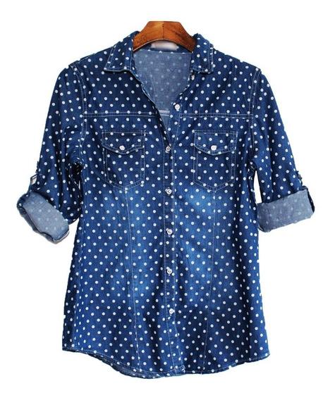Camisa Blusa Feminina Jeans 2 Cores Degrade Preço Baixo 2508