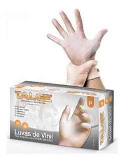 100 Luva Vinil Luxo Sem Pó Antialérgica Procedimento C/ Nota