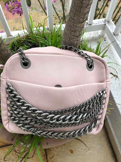 Bolsa Zara Rosa Com Detalhes De Correntes