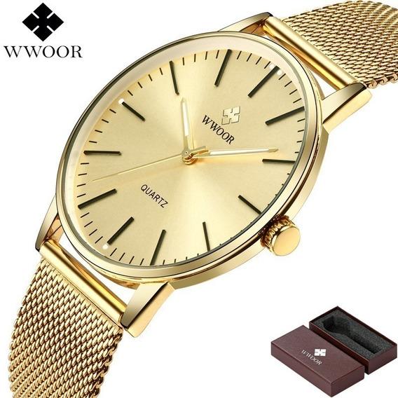Relógio De Pulso Wwoor Dourado Ultra Fino Japonês Luxuoso.