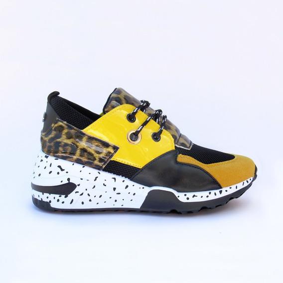 Teni Amarillo Print Leopardo Alto Mujer
