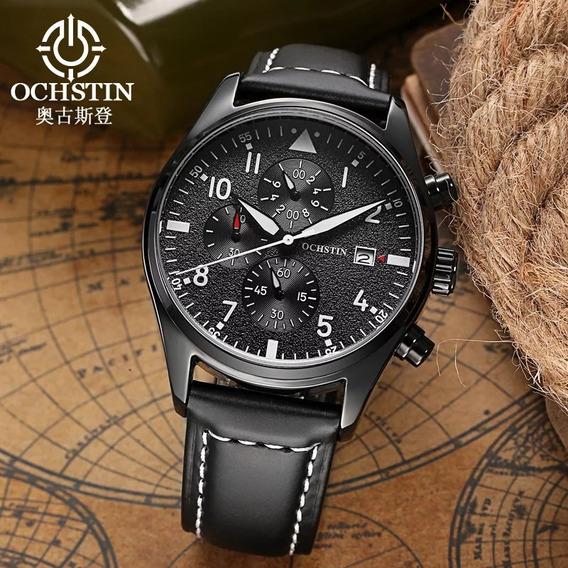 Relógio Ochstin Preto Couro Impécavel Com Caixa Original