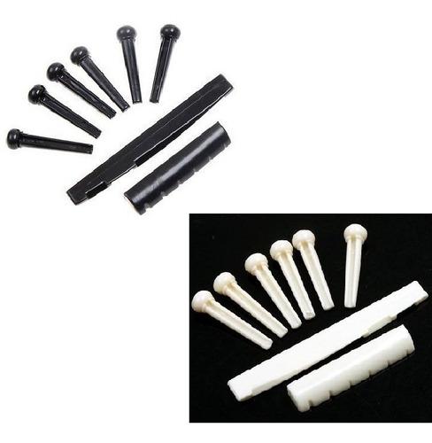 Imagem 1 de 6 de Kit 6 Pinos Rastilho Nut Pestana Violão Pino Branco Ou Preto