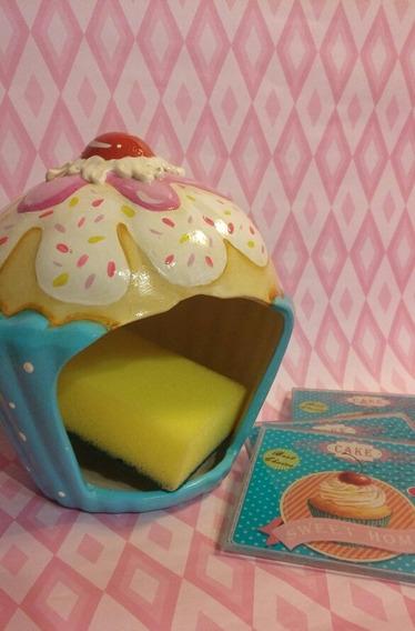 Esponjero Muffins De Ceramica + Porta Vasos De Vidrio X 4!