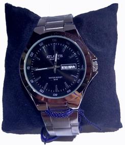 Relógio Atlantis Prata Fundo Preto Com Calendário - G3214