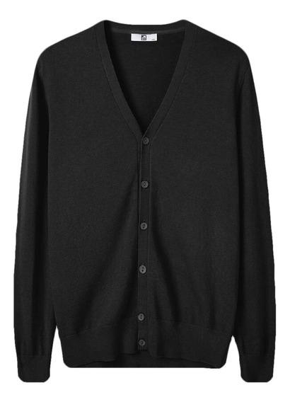 Al Suéter Tricotado Solto V Pescoço Botão Para Baixo Sué