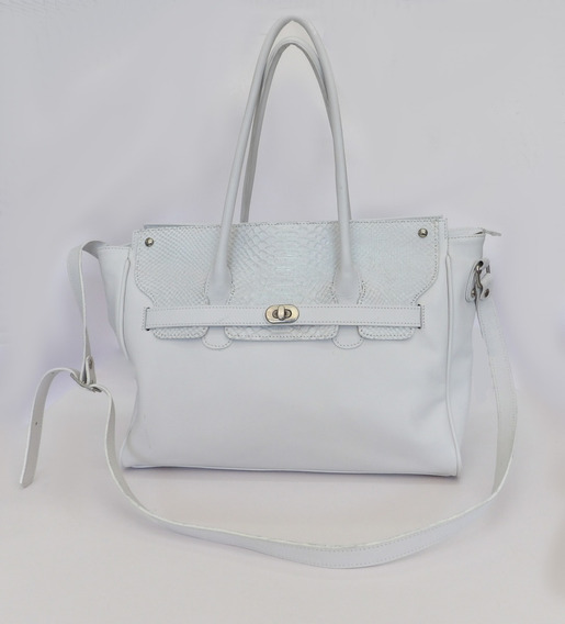 Cartera De Cuero Blanca -calzados Union- Art 1500