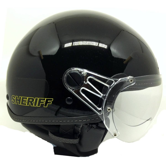 Capacete Aberto Plus Custom Sheriff Preto - Selo Inmetro