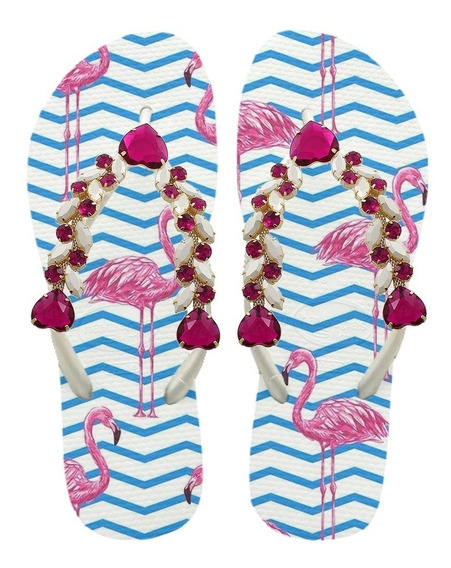 Chinelo Sandália Havaianas Original Slim Decorada Flamingos