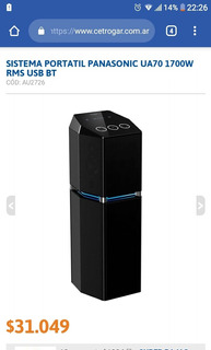 Sistema Portatil Panasonic Ua70 1500w Rms Usb Bt