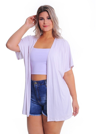 Kimono Plus Size Colete Alongado Feminino Quimono Malha