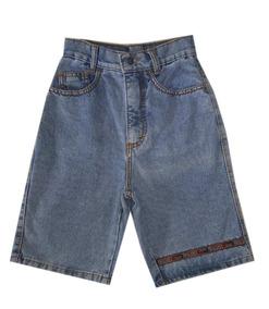 Mom Jeans/bermuda Short Azul Indico Feminino