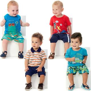 Roupa Bebê Menino Kit 4 Conjuntos Curto De Verão Abrange