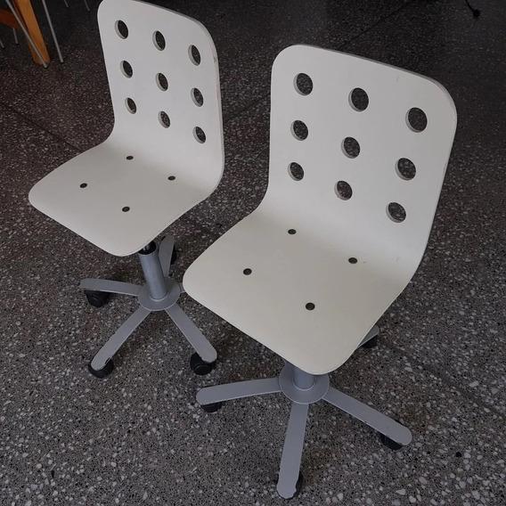 Set 2 Sillas Infantiles Ikea Jules Madera C/ruedas C/piston