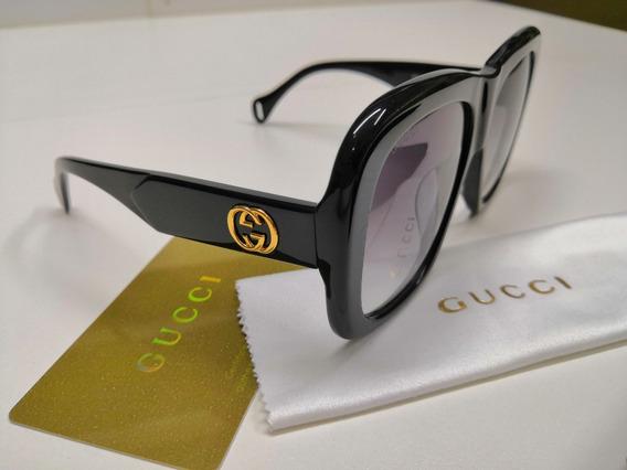 Óculos De Sol Gucci Original Gg0498s Acetato Preto Degradê