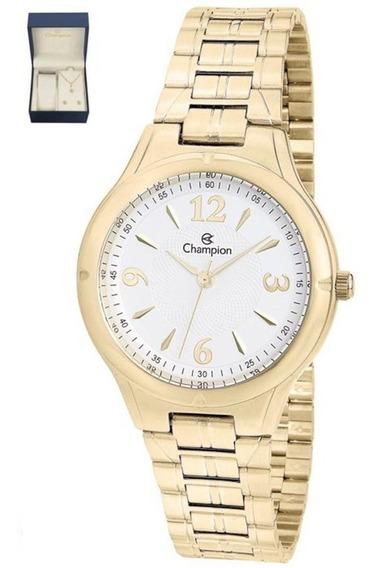 Relógio Champion Dourado Social Cn20499w + Kit Semijoias