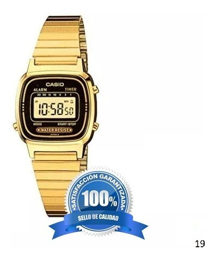 Reloj Casio Digital La670wga-1, Pulsera De Acero Inoxidable